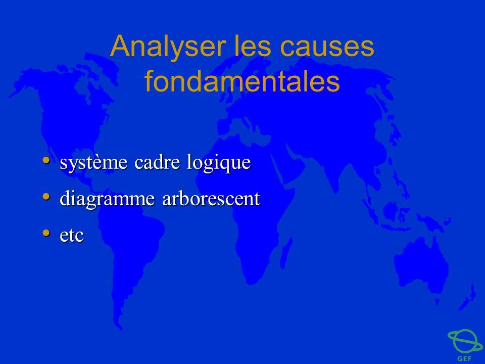 Analyser les causes fondamentales système cadre logique système cadre logique diagramme arborescent diagramme arborescent etc etc