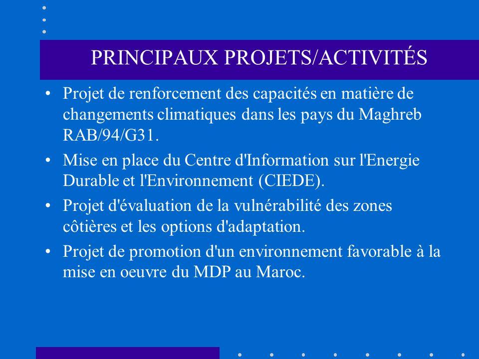 PRINCIPAUX PROJETS/ACTIVITÉS Projet de renforcement des capacités en matière de changements climatiques dans les pays du Maghreb RAB/94/G31. Mise en p
