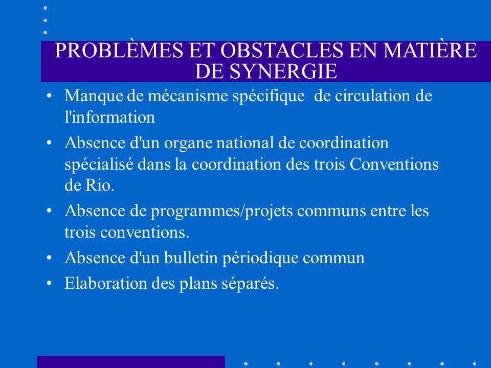 PROBLÈMES ET OBSTACLES EN MATIÈRE DE SYNERGIE Manque de mécanisme spécifique de circulation de l'information Absence d'un organe national de coordinat