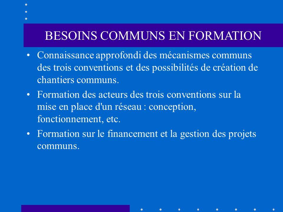BESOINS COMMUNS EN FORMATION Connaissance approfondi des mécanismes communs des trois conventions et des possibilités de création de chantiers communs