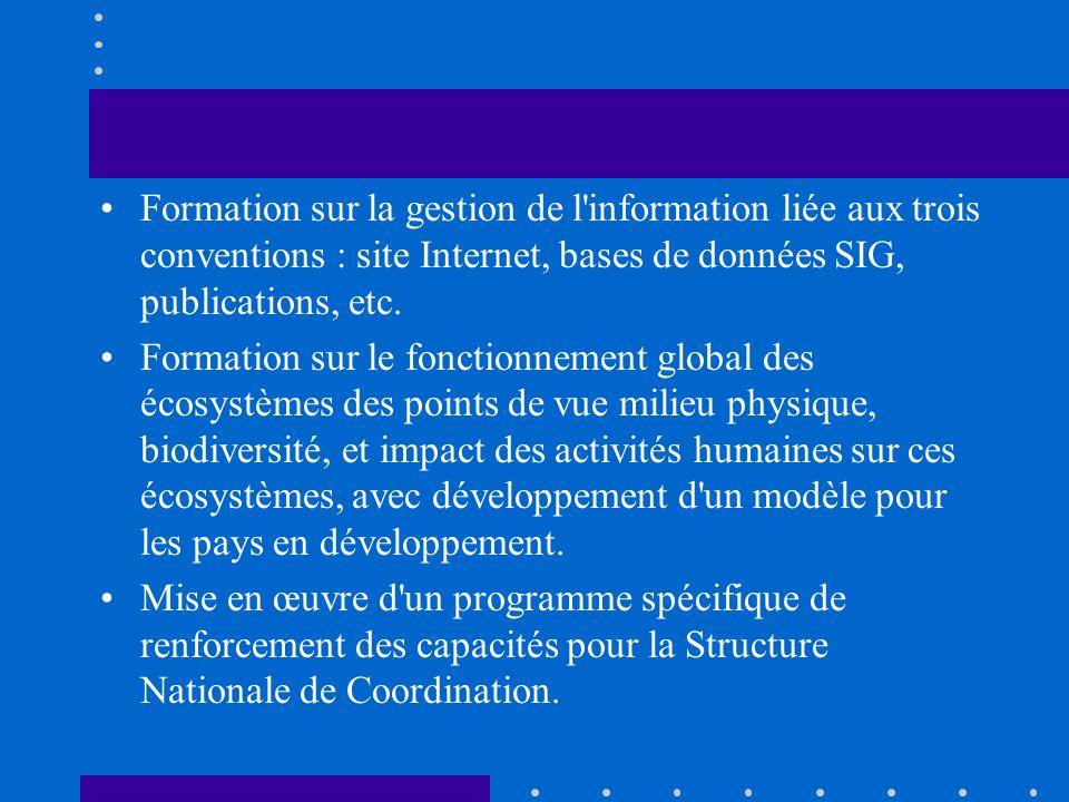 Formation sur la gestion de l'information liée aux trois conventions : site Internet, bases de données SIG, publications, etc. Formation sur le foncti