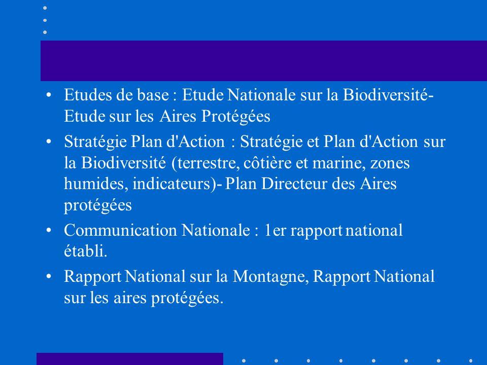 Etudes de base : Etude Nationale sur la Biodiversité- Etude sur les Aires Protégées Stratégie Plan d'Action : Stratégie et Plan d'Action sur la Biodiv