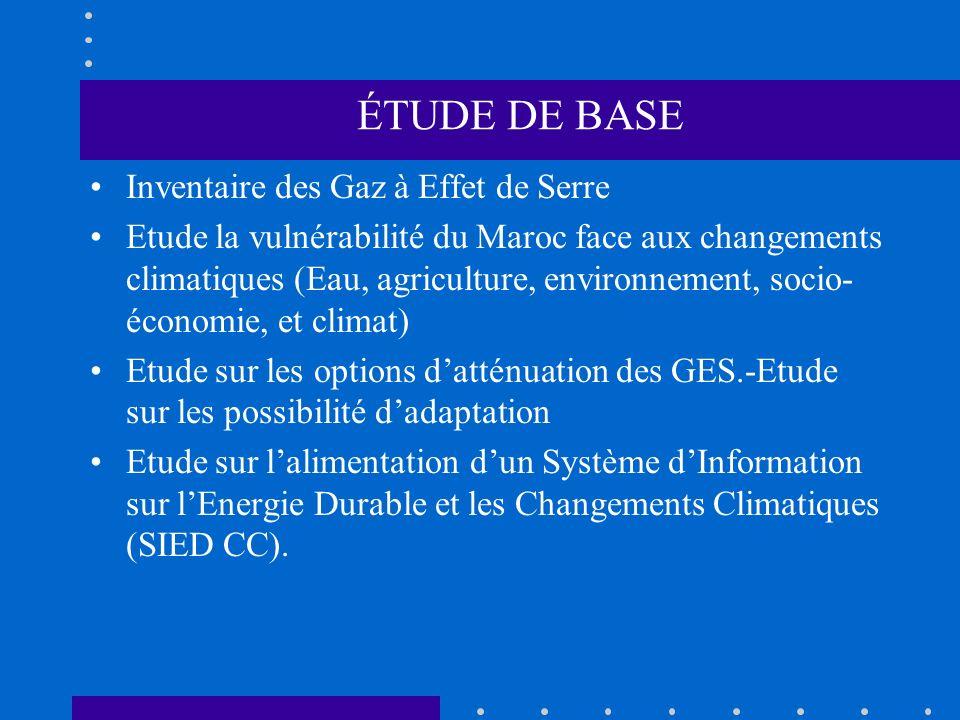 ÉTUDE DE BASE Inventaire des Gaz à Effet de Serre Etude la vulnérabilité du Maroc face aux changements climatiques (Eau, agriculture, environnement, s