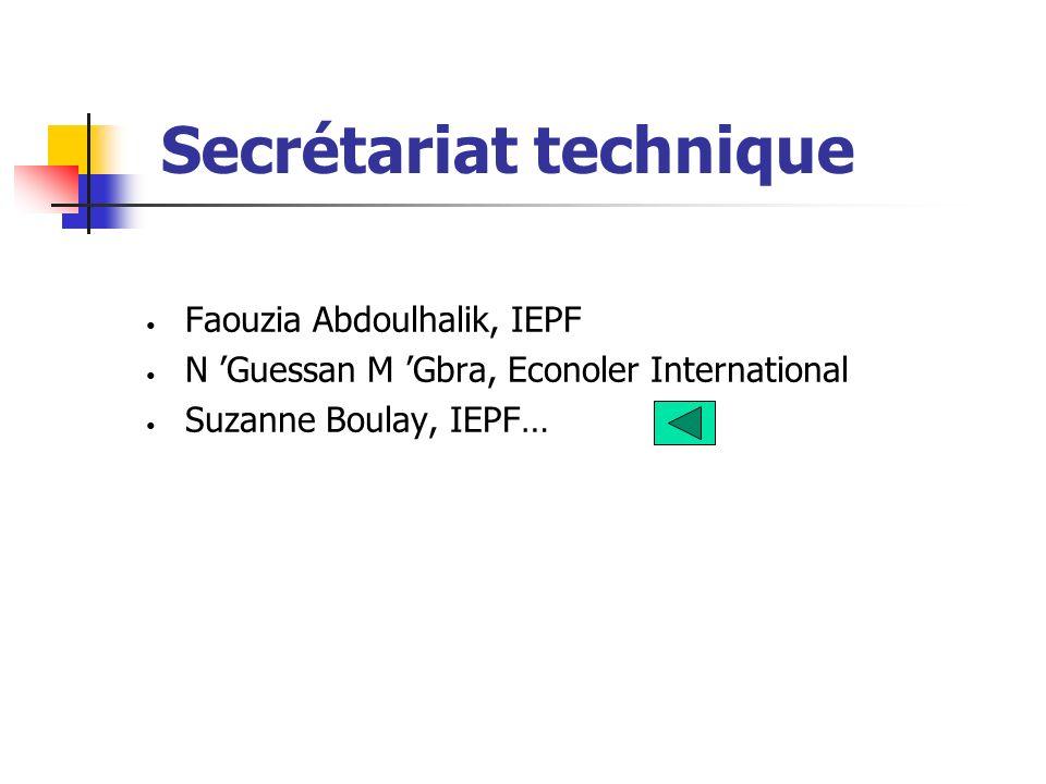 Faouzia Abdoulhalik, IEPF N Guessan M Gbra, Econoler International Suzanne Boulay, IEPF…