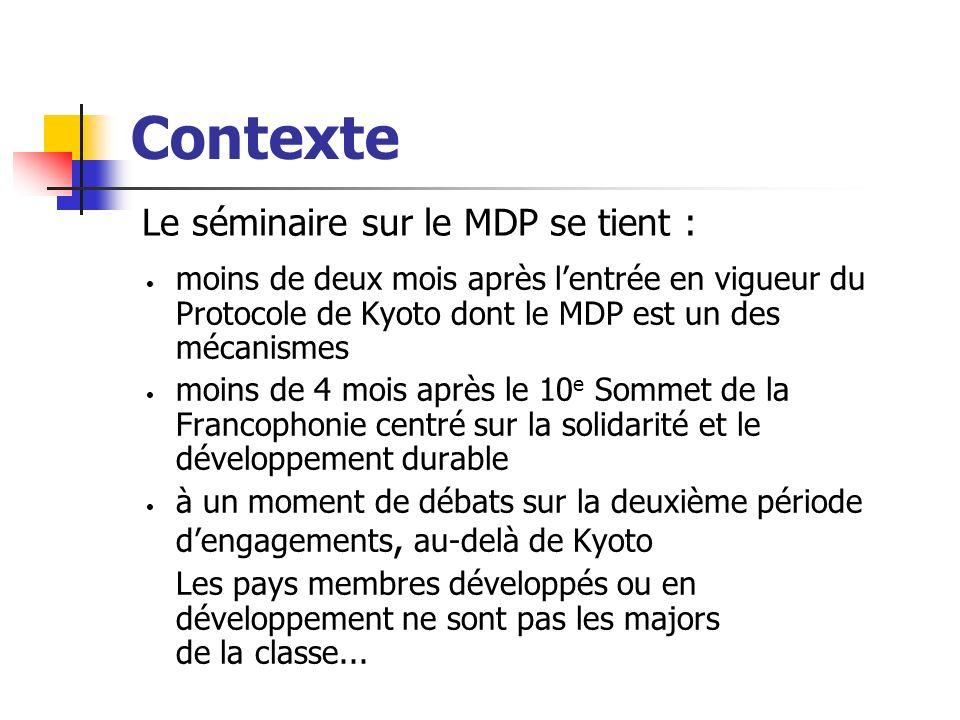 Objectifs du Séminaire Échanger sur le marché émergent du carbone Faire le point des acquis et des manques sur le MDP dans lespace francophone Définir les bases dune stratégie daction concertée pour développer la coopération sur le MDP entre les pays membres Mettre en place un mécanisme opérationnel de suivi de cette stratégie