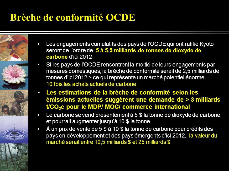Brèche de conformité OCDE Les engagements cumulatifs des pays de lOCDE qui ont ratifié Kyoto seront de lordre de 5 à 5,5 milliards de tonnes de dioxyde de carbone dici 2012 Si les pays de lOCDE rencontrent la moitié de leurs engagements par mesures domestiques, la brèche de conformité serait de 2,5 milliards de tonnes dici 2012 > ce qui représente un marché potentiel énorme – 10 fois les achats actuels de carbone Les estimations de la brèche de conformité selon les émissions actuelles suggèrent une demande de > 3 milliards t/CO 2 e pour le MDP/ MOC/ commerce international Le carbone se vend présentement à 5 $ la tonne de dioxyde de carbone, et pourrait augmenter jusquà 10 $ la tonne À un prix de vente de 5 $ à 10 $ la tonne de carbone pour crédits des pays en développement et des pays émergents dici 2012, la valeur du marché serait entre 12,5 milliards $ et 25 milliards $