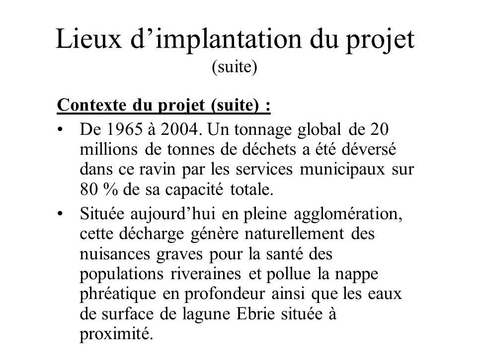 Lieux dimplantation du projet (suite) Contexte du projet (suite) : De 1965 à 2004. Un tonnage global de 20 millions de tonnes de déchets a été déversé