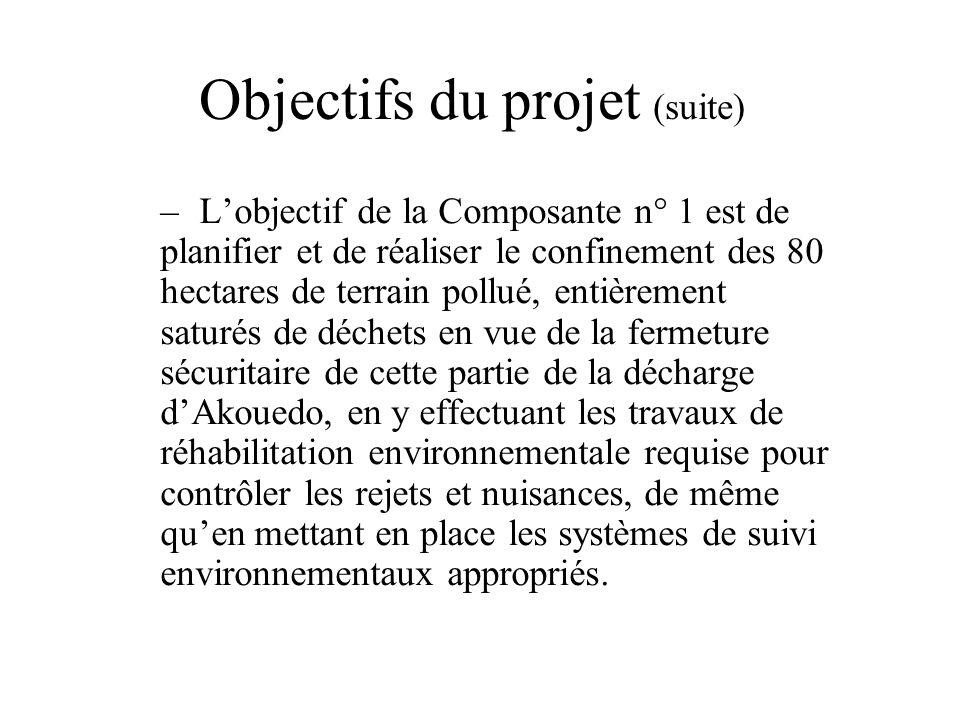 Objectifs du projet (suite) –Lobjectif de la Composante n° 1 est de planifier et de réaliser le confinement des 80 hectares de terrain pollué, entière