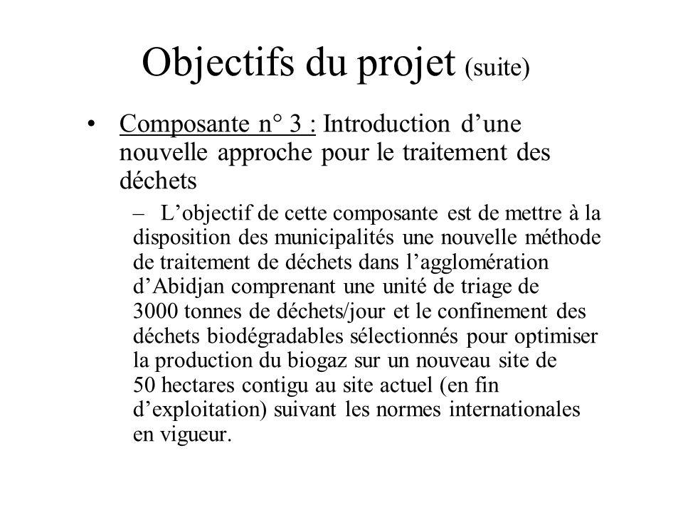 Objectifs du projet (suite) Composante n° 3 : Introduction dune nouvelle approche pour le traitement des déchets –Lobjectif de cette composante est de