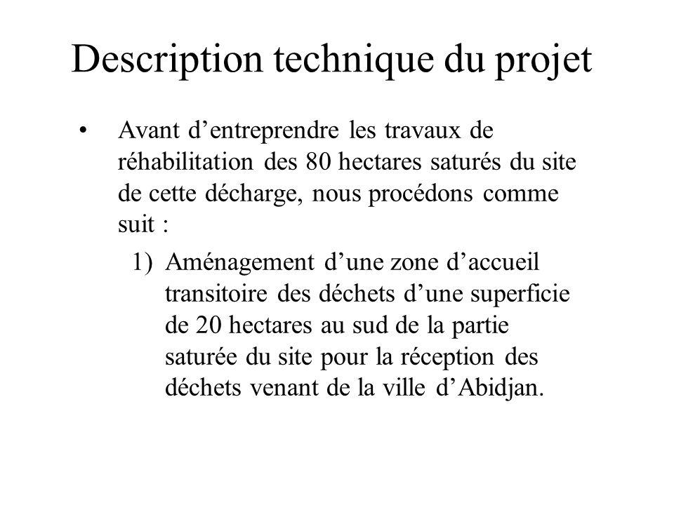 Description technique du projet Avant dentreprendre les travaux de réhabilitation des 80 hectares saturés du site de cette décharge, nous procédons co