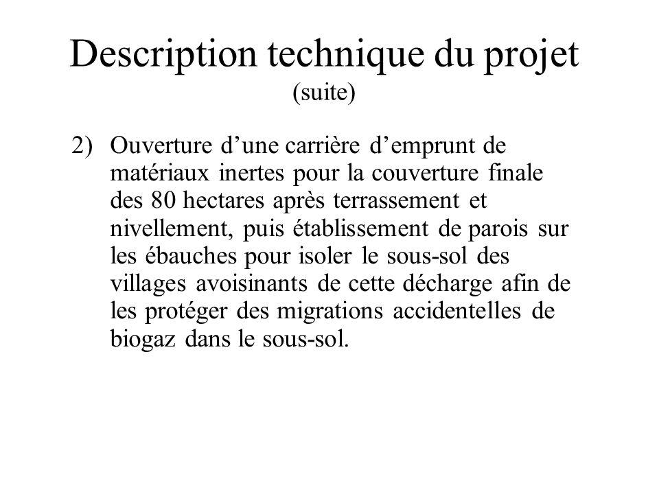 Description technique du projet (suite) 2)Ouverture dune carrière demprunt de matériaux inertes pour la couverture finale des 80 hectares après terras