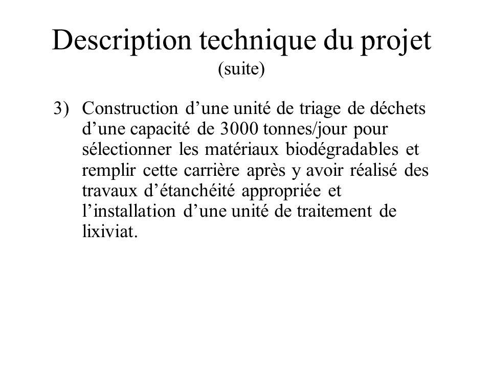 Description technique du projet (suite) 3)Construction dune unité de triage de déchets dune capacité de 3000 tonnes/jour pour sélectionner les matéria