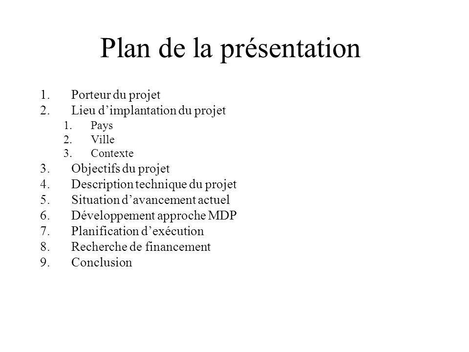 Plan de la présentation 1.Porteur du projet 2.Lieu dimplantation du projet 1.Pays 2.Ville 3.Contexte 3.Objectifs du projet 4.Description technique du
