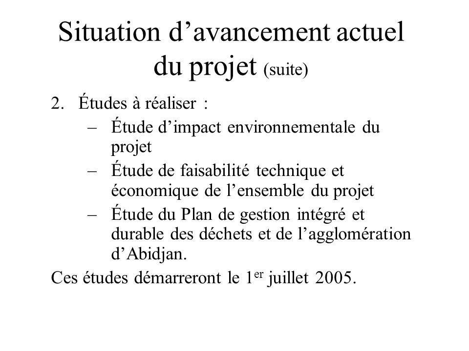 Situation davancement actuel du projet (suite) 2.Études à réaliser : –Étude dimpact environnementale du projet –Étude de faisabilité technique et écon