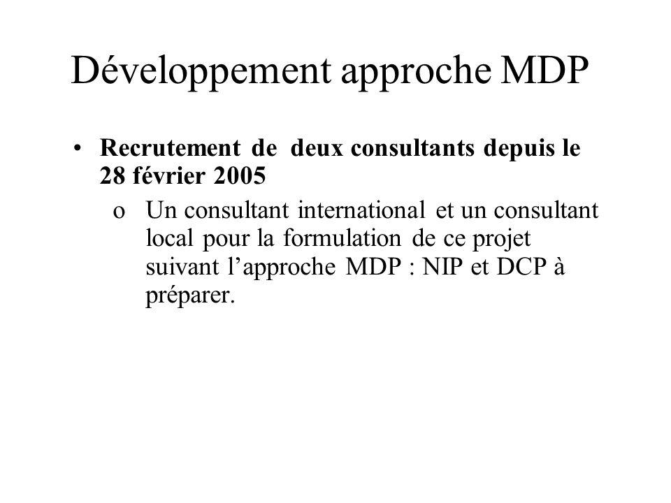 Développement approche MDP Recrutement de deux consultants depuis le 28 février 2005 oUn consultant international et un consultant local pour la formu