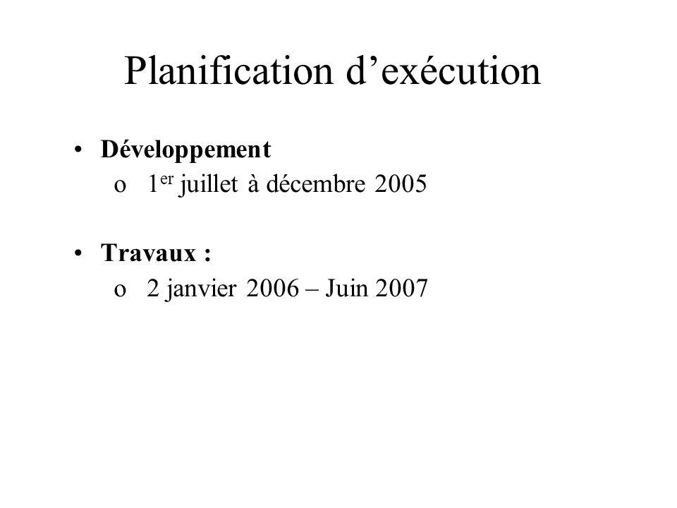 Planification dexécution Développement o1 er juillet à décembre 2005 Travaux : o2 janvier 2006 – Juin 2007