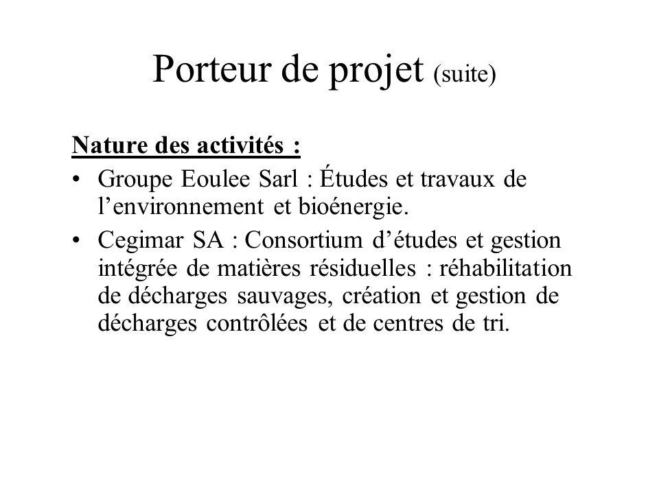 Porteur de projet (suite) Nature des activités : Groupe Eoulee Sarl : Études et travaux de lenvironnement et bioénergie. Cegimar SA : Consortium détud