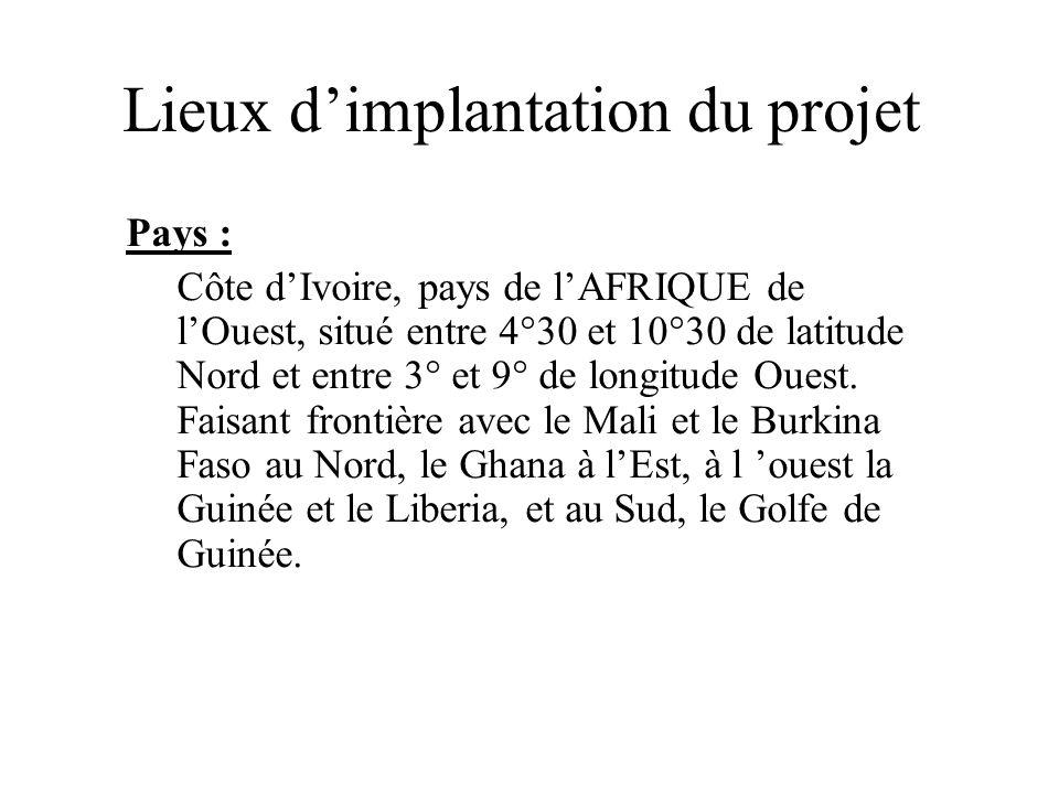 Lieux dimplantation du projet Pays : Côte dIvoire, pays de lAFRIQUE de lOuest, situé entre 4°30 et 10°30 de latitude Nord et entre 3° et 9° de longitu