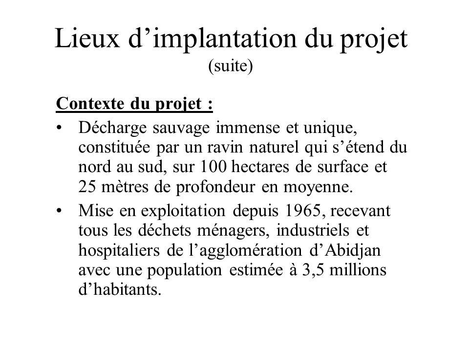 Lieux dimplantation du projet (suite) Contexte du projet : Décharge sauvage immense et unique, constituée par un ravin naturel qui sétend du nord au s