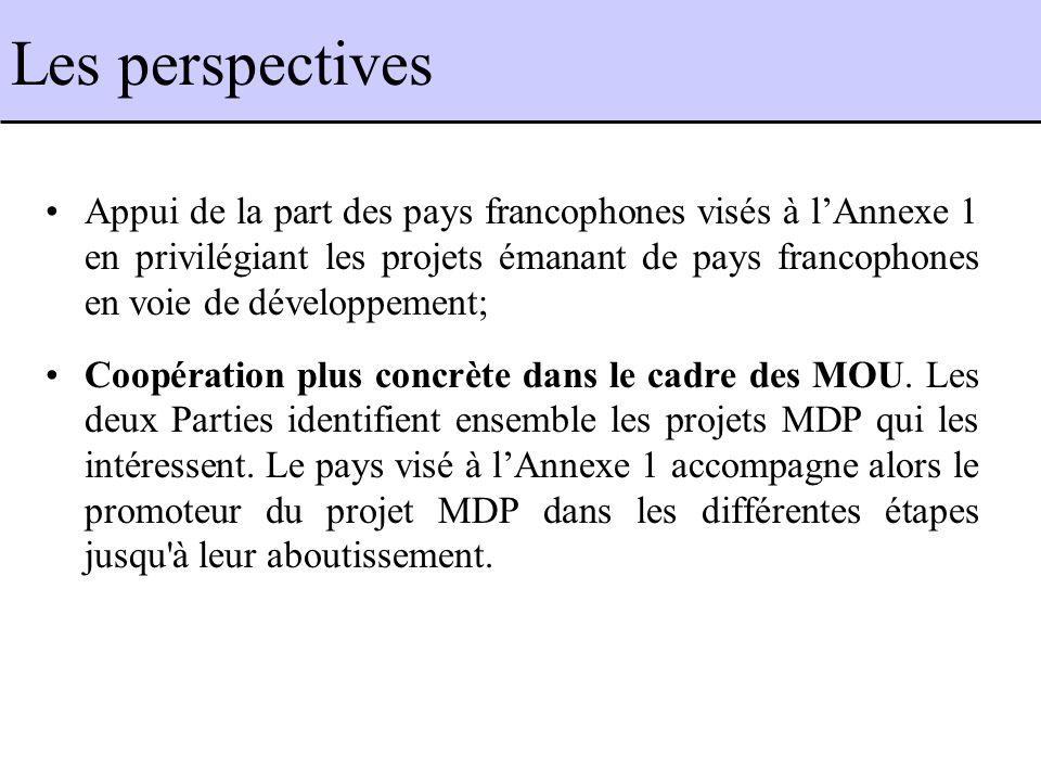 Les perspectives Appui de la part des pays francophones visés à lAnnexe 1 en privilégiant les projets émanant de pays francophones en voie de développement; Coopération plus concrète dans le cadre des MOU.