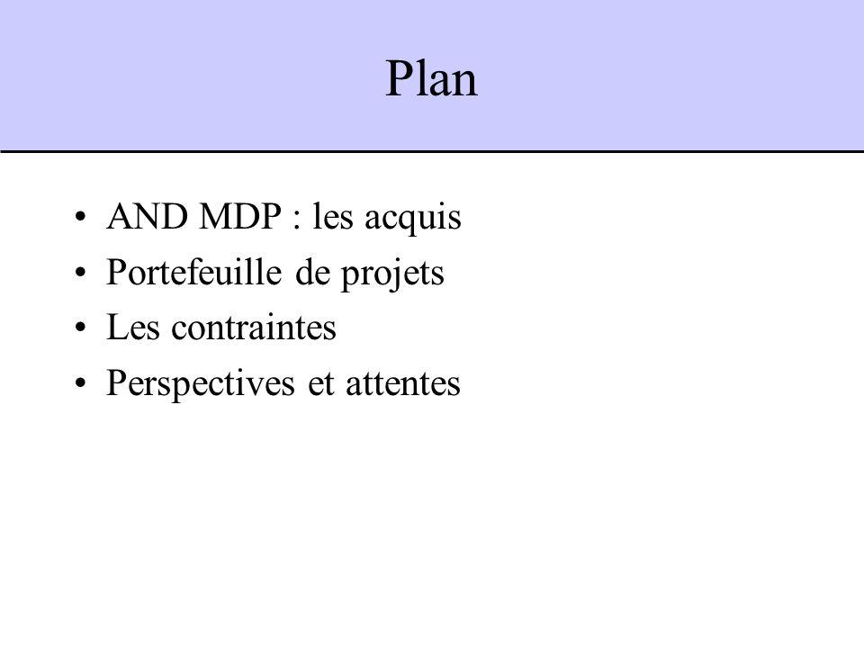 Plan AND MDP : les acquis Portefeuille de projets Les contraintes Perspectives et attentes