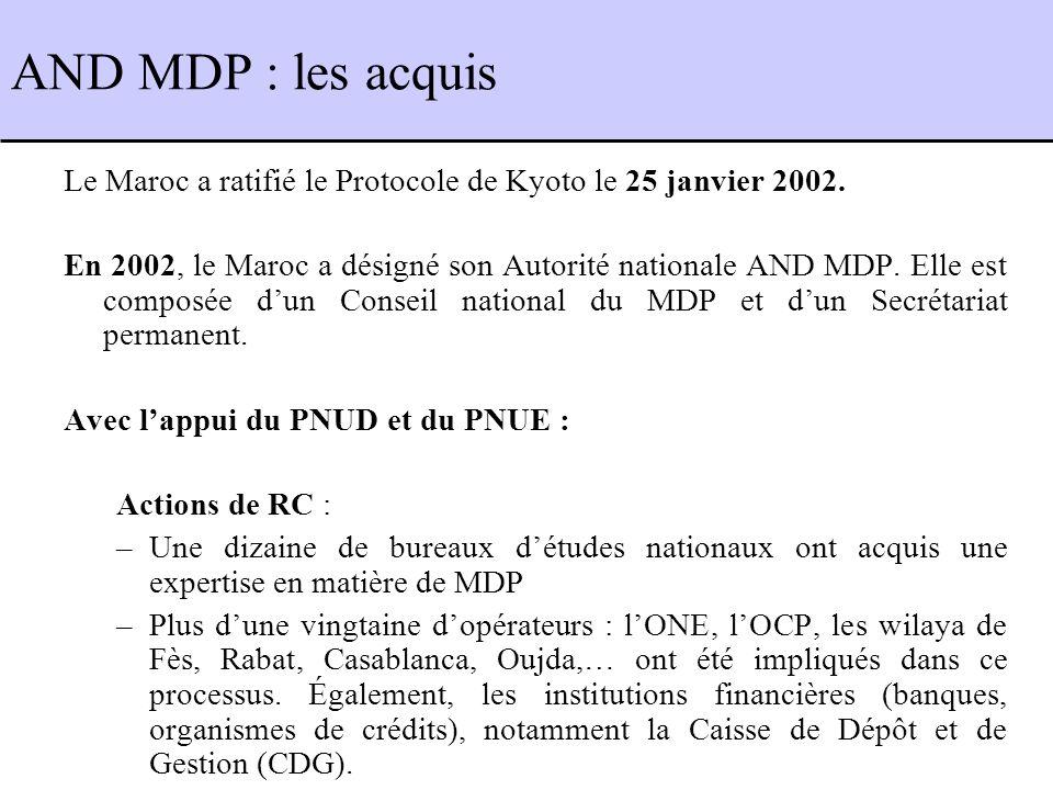 AND MDP : les acquis Le Maroc a ratifié le Protocole de Kyoto le 25 janvier 2002.