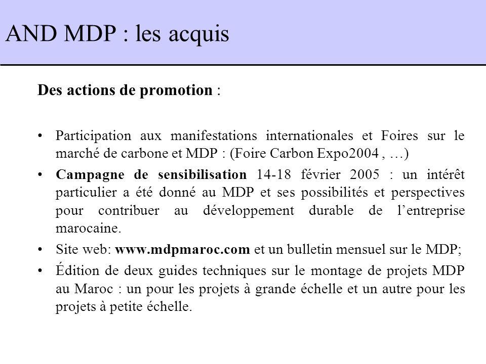 Des actions de promotion : Participation aux manifestations internationales et Foires sur le marché de carbone et MDP : (Foire Carbon Expo2004, …) Campagne de sensibilisation 14-18 février 2005 : un intérêt particulier a été donné au MDP et ses possibilités et perspectives pour contribuer au développement durable de lentreprise marocaine.