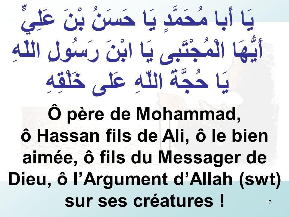 13 يَا أَبا مُحَمَّدٍ يَا حَسَنُ بْنَ عَلِيٍّ أَيُّهَا الْمُجْتَبى يَا ابْنَ رَسُولِ اللّهِ يَا حُجَّةَ اللّهِ عَلى خَلْقِهِ Ô père de Mohammad, ô Hassan fils de Ali, ô le bien aimée, ô fils du Messager de Dieu, ô lArgument dAllah (swt) sur ses créatures !