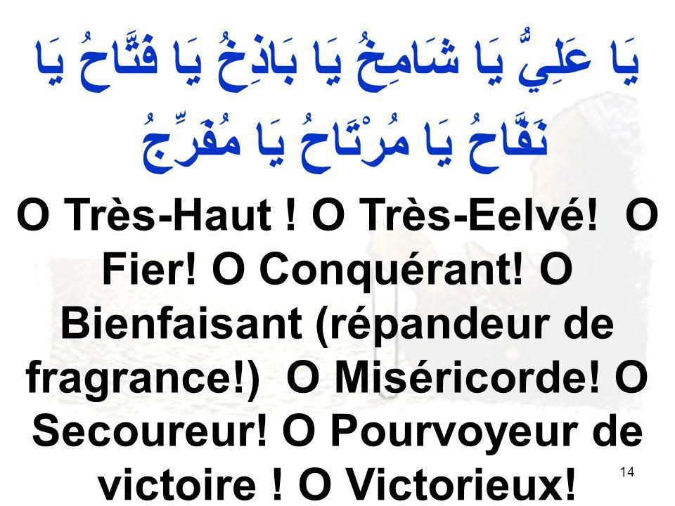 14 يَا عَلِيُّ يَا شَامِخُ يَا بَاذِخُ يَا فَتَّاحُ يَا نَفَّاحُ يَا مُرْتَاحُ يَا مُفَرِّجُ O Très-Haut .