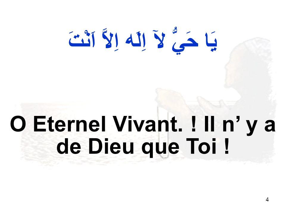 4 يَا حَيُّ لآ اِلَه اِلاَّ اَنْتَ O Eternel Vivant. ! Il n y a de Dieu que Toi !