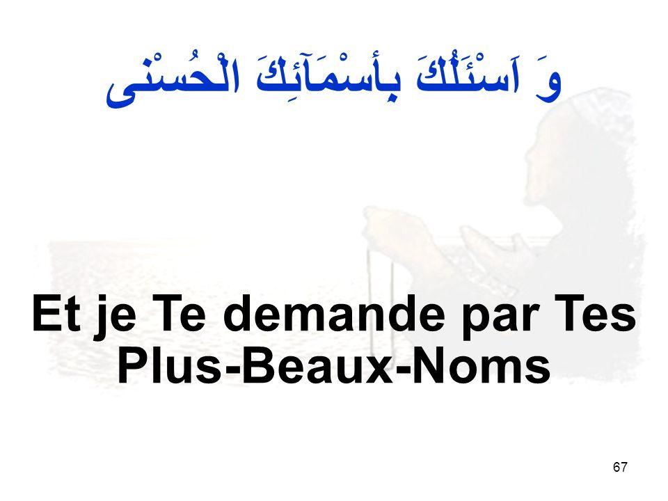 67 Et je Te demande par Tes Plus-Beaux-Noms وَ اَسْئَلُكَ بِأسْمَآئِكَ الْحُسْنى