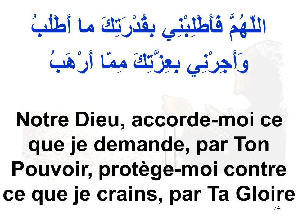 74 اللّهُمَّ فَأَطْلِبْنِي بِقُدْرَتِكَ ما أَطْلُبُ وَأَجِرْنِي بِعِزَّتِكَ مِمّا أَرْهَبُ Notre Dieu, accorde moi ce que je demande, par Ton Pouvoir, protège moi contre ce que je crains, par Ta Gloire