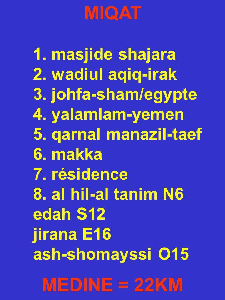 MIQAT 1. masjide shajara 2. wadiul aqiq-irak 3. johfa-sham/egypte 4. yalamlam-yemen 5. qarnal manazil-taef 6. makka 7. résidence 8. al hil-al tanim N6