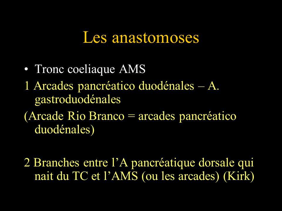Les anastomoses Tronc coeliaque AMS 1 Arcades pancréatico duodénales – A. gastroduodénales (Arcade Rio Branco = arcades pancréatico duodénales) 2 Bran
