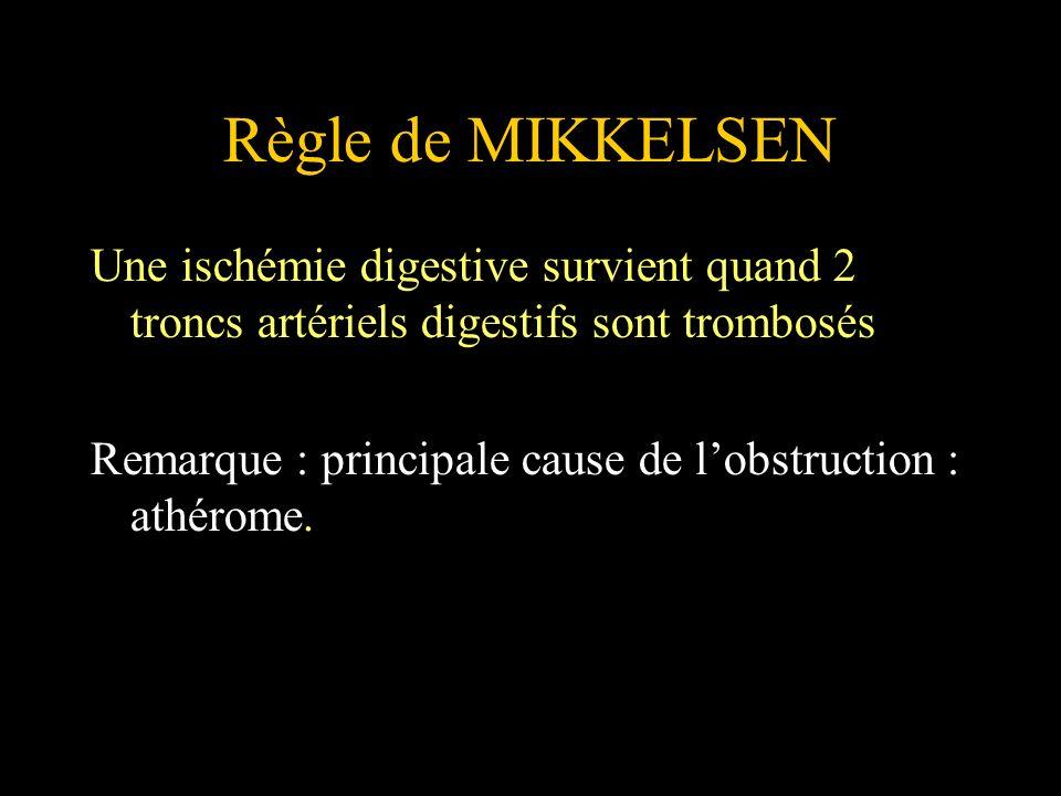 Règle de MIKKELSEN Une ischémie digestive survient quand 2 troncs artériels digestifs sont trombosés Remarque : principale cause de lobstruction : ath