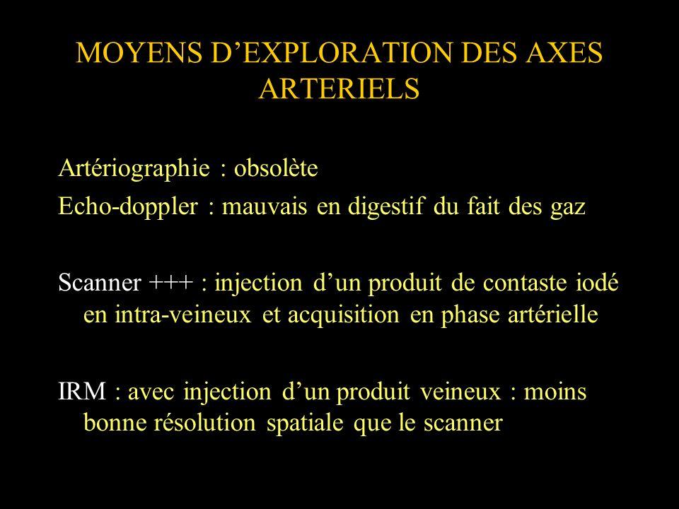 MOYENS DEXPLORATION DES AXES ARTERIELS Artériographie : obsolète Echo-doppler : mauvais en digestif du fait des gaz Scanner +++ : injection dun produi