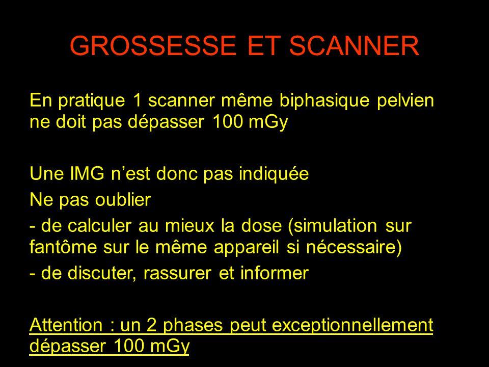GROSSESSE ET SCANNER En pratique 1 scanner même biphasique pelvien ne doit pas dépasser 100 mGy Une IMG nest donc pas indiquée Ne pas oublier - de cal