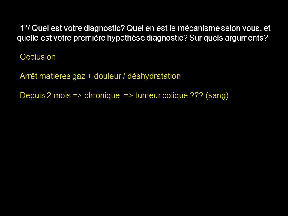 Occlusion Arrêt matières gaz + douleur / déshydratation Depuis 2 mois => chronique => tumeur colique ??? (sang)