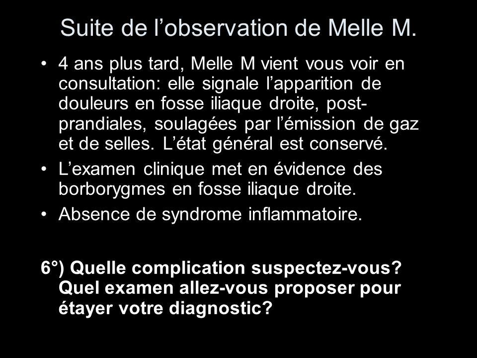 Suite de lobservation de Melle M. 4 ans plus tard, Melle M vient vous voir en consultation: elle signale lapparition de douleurs en fosse iliaque droi