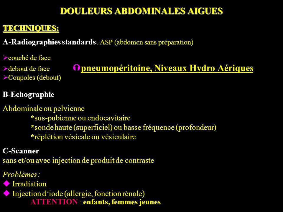 DOULEURS ABDOMINALES AIGUES TECHNIQUES: A-Radiographies standards : ASP (abdomen sans préparation) couché de face debout de face pneumopéritoine, Nive