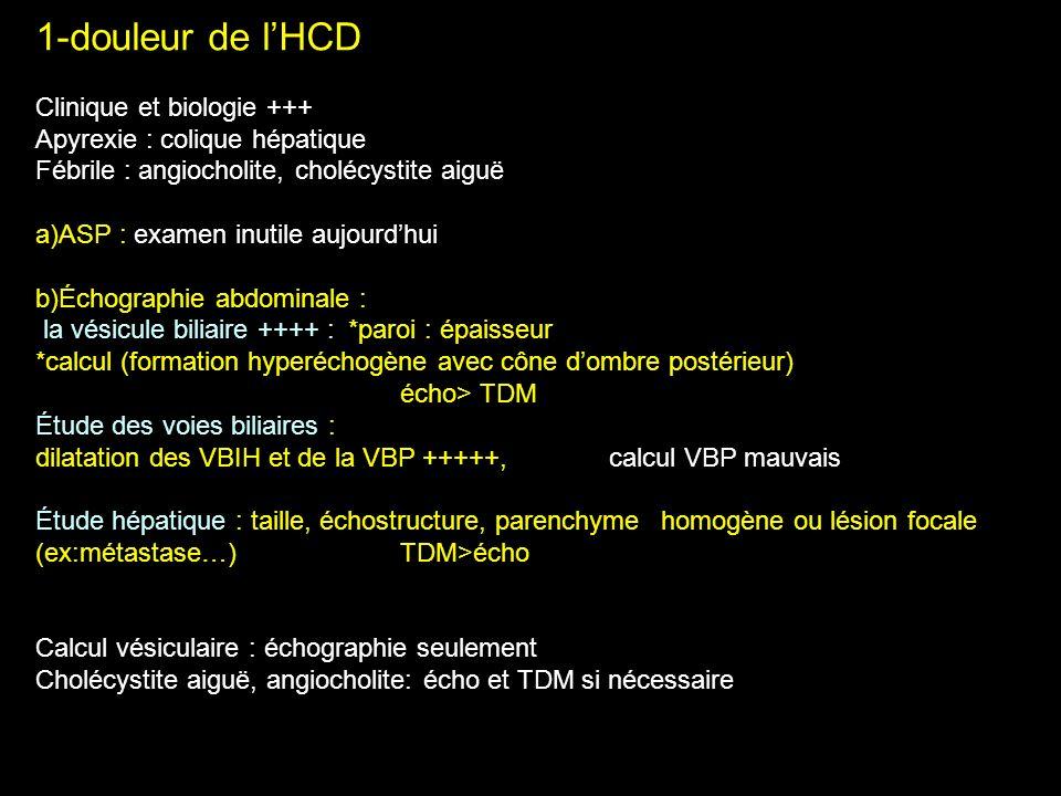 1-douleur de lHCD Clinique et biologie +++ Apyrexie : colique hépatique Fébrile : angiocholite, cholécystite aiguë a)ASP : examen inutile aujourdhui b