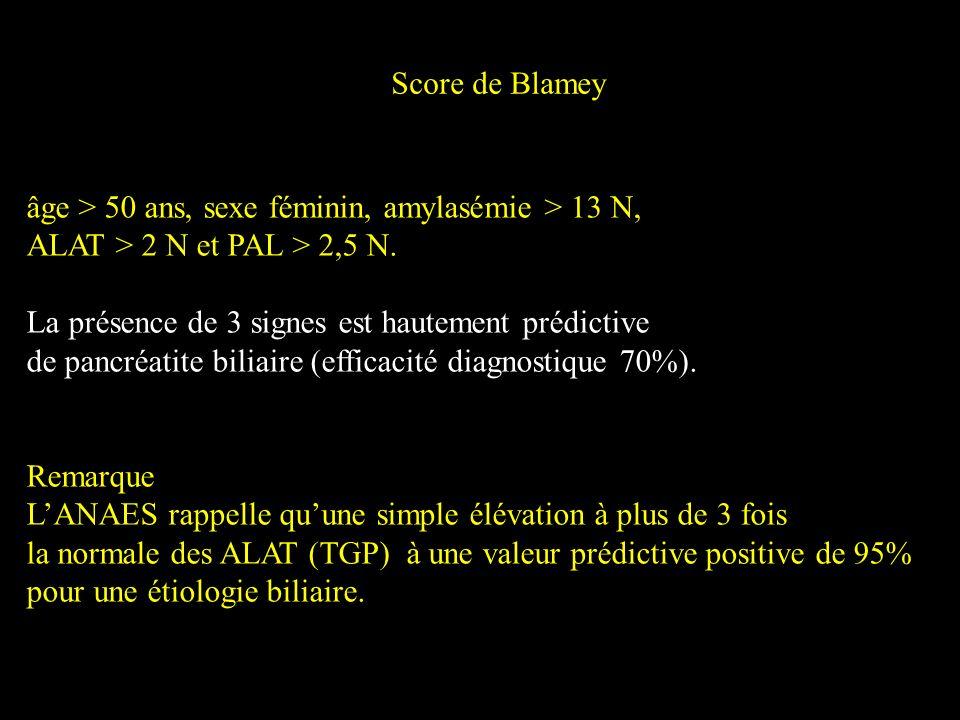 Score de Blamey âge > 50 ans, sexe féminin, amylasémie > 13 N, ALAT > 2 N et PAL > 2,5 N. La présence de 3 signes est hautement prédictive de pancréat