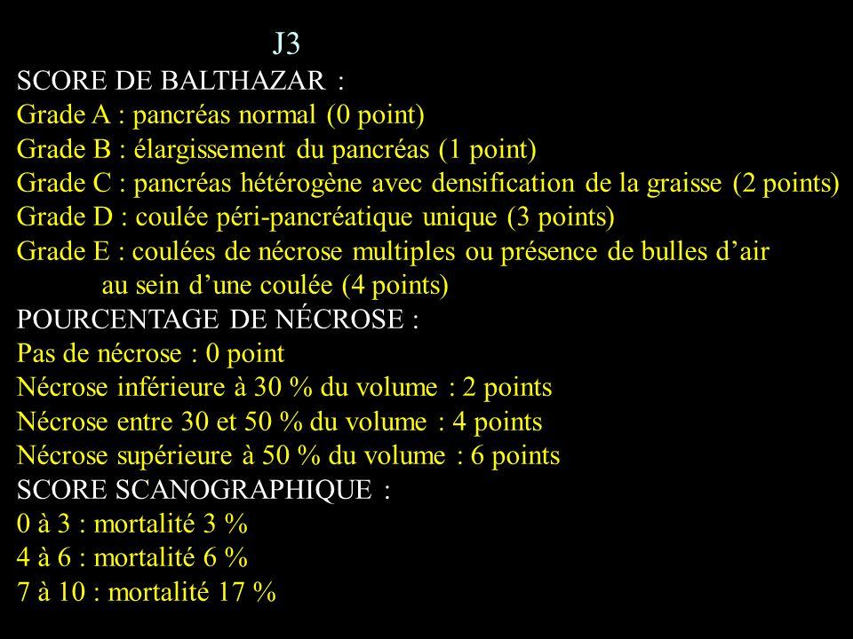 J3 SCORE DE BALTHAZAR : Grade A : pancréas normal (0 point) Grade B : élargissement du pancréas (1 point) Grade C : pancréas hétérogène avec densifica