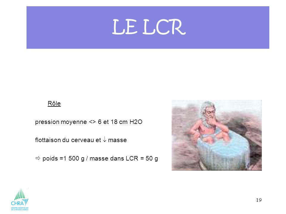 19 Rôle pression moyenne <> 6 et 18 cm H2O flottaison du cerveau et masse poids =1 500 g / masse dans LCR = 50 g LE LCR