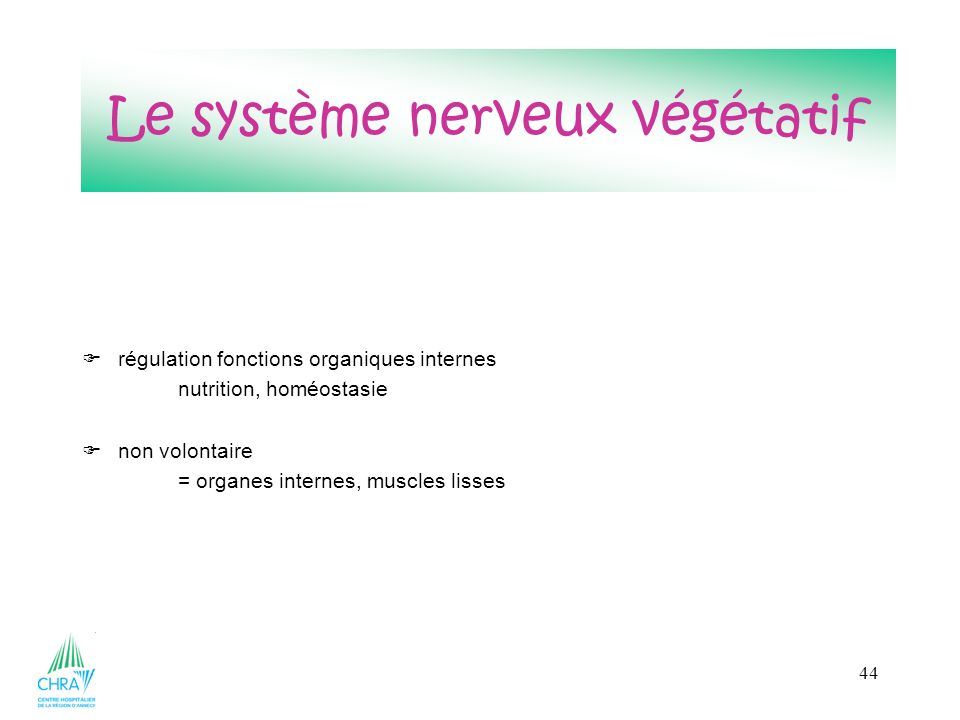 44 régulation fonctions organiques internes nutrition, homéostasie non volontaire = organes internes, muscles lisses Le système nerveux végétatif
