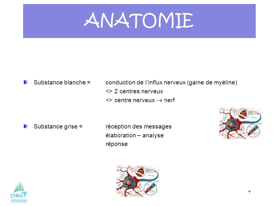 7 Substance blanche = conduction de linflux nerveux (gaine de myéline) <> 2 centres nerveux <> centre nerveux nerf Substance grise =réception des mess