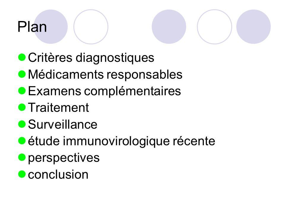 Plan Critères diagnostiques Médicaments responsables Examens complémentaires Traitement Surveillance étude immunovirologique récente perspectives conc
