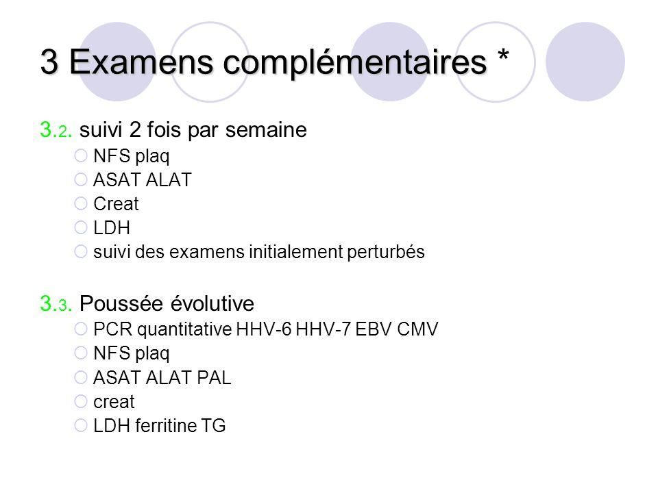 3 Examens complémentaires 3 Examens complémentaires * 3. 2. suivi 2 fois par semaine NFS plaq ASAT ALAT Creat LDH suivi des examens initialement pertu