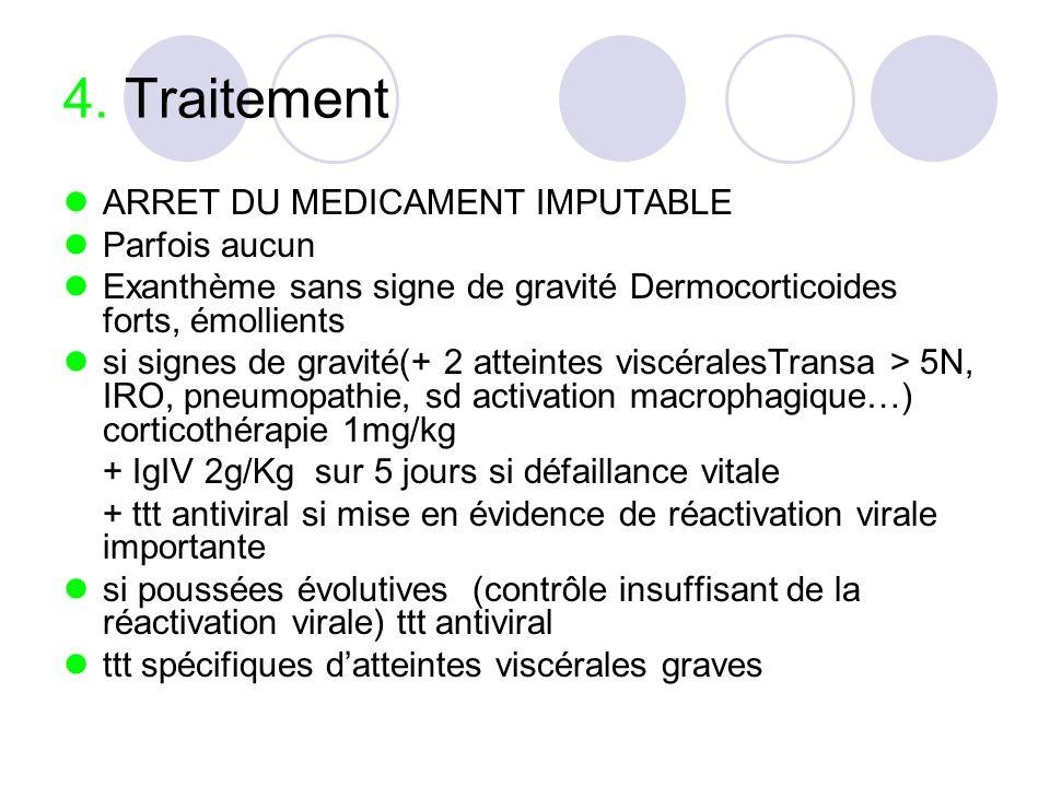 4. Traitement ARRET DU MEDICAMENT IMPUTABLE Parfois aucun Exanthème sans signe de gravité Dermocorticoides forts, émollients si signes de gravité(+ 2