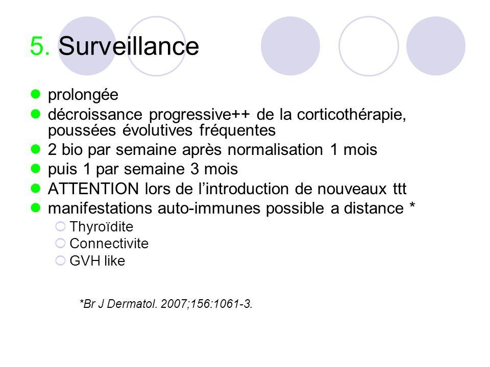 5. Surveillance prolongée décroissance progressive++ de la corticothérapie, poussées évolutives fréquentes 2 bio par semaine après normalisation 1 moi